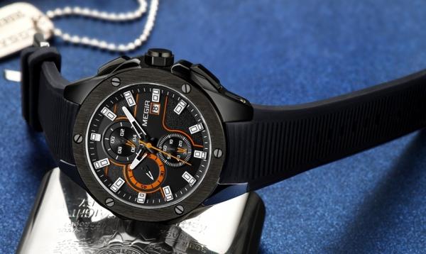 Ceas Megir 8135 - Sport | Cronograf | Negru - portocaliu  | Curea Silicon |