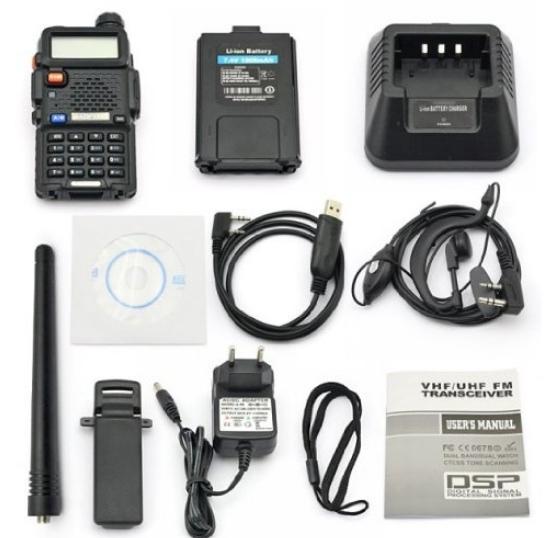 Set 5 statii radio Baofeng UV-5R Dual Band Tranciever + Bonus Casti cu microfon incluse