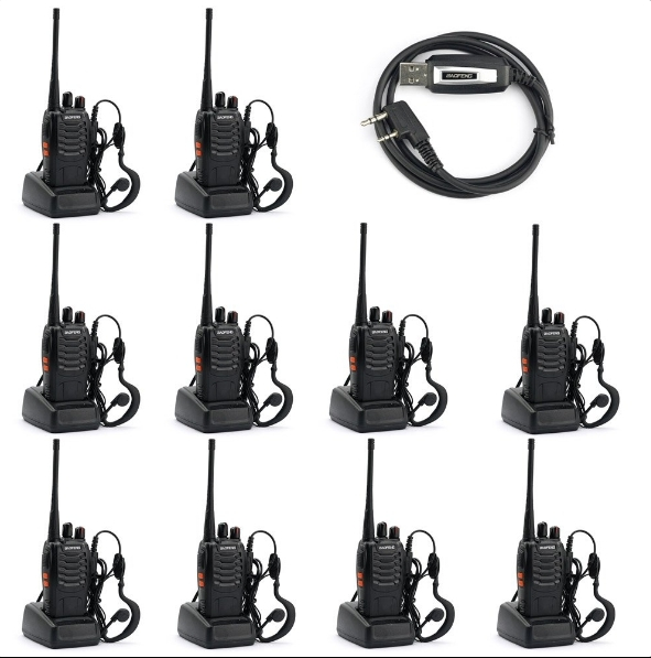 Set 10 buc Statii Radio Walkie Talkie Baofeng BF-888S UHF 400-470MHz 16CH  PROGRAMABILE + Bonus Cablu si CD programare