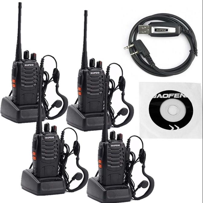 Set 4 buc Statii Radio Walkie Talkie Baofeng BF-888S UHF 400-470MHz 16CH PROGRAMABILE + Cablu si CD programare