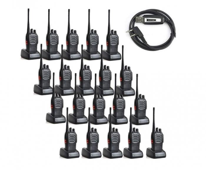 Set 20 buc Statii Radio Walkie Talkie Baofeng BF-888S UHF 400-470MHz 16CH  PROGRAMABILE + Bonus Cablu si CD programare