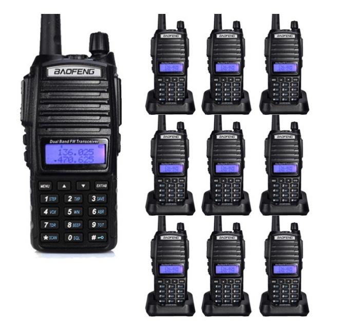 Set 10 statii UV- 82 walkie talkie transiever, 5 W, dual band VHF, UHF, 2800 mAH , radio FM, BONUS cablu programare + CD