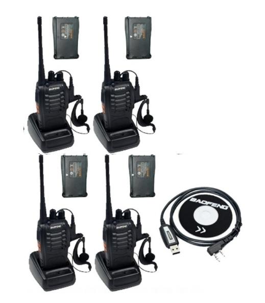 Set 4 buc Baofeng BF-888S cu 8 acumulatori 1500 mAh + Bonus Cablu+CD programare
