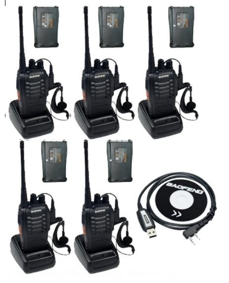 Set 5 buc Baofeng BF-888S cu 10 acumulatori 1500 mAh + Bonus Cablu+CD programare