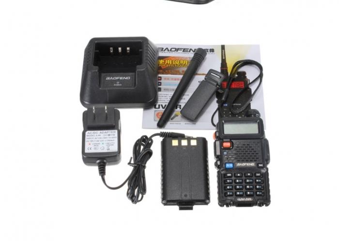 Set 5 statii radio Baofeng UV-5R Dual Band Tranciever + Bonus Casti cu microfon incluse 2