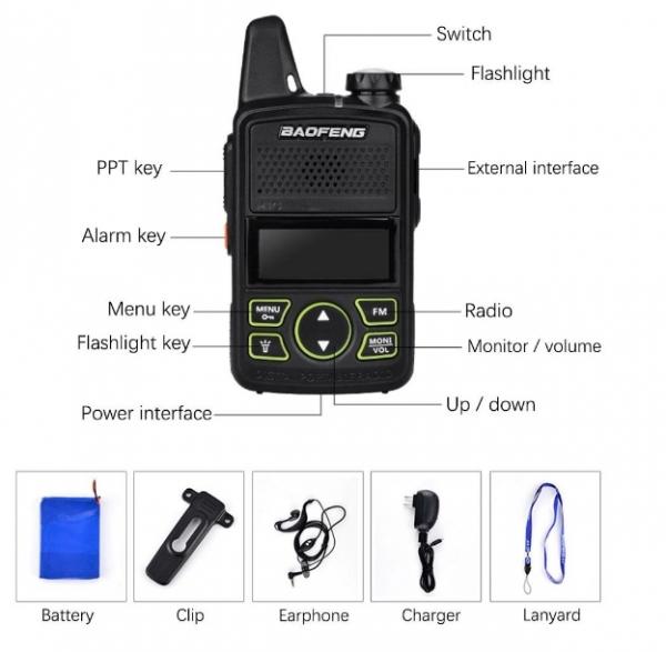 Statie radio Mini Walkie Talkie BF-T1, 20 canale UHF, radio FM  63 MHz - 108 MHZ 4