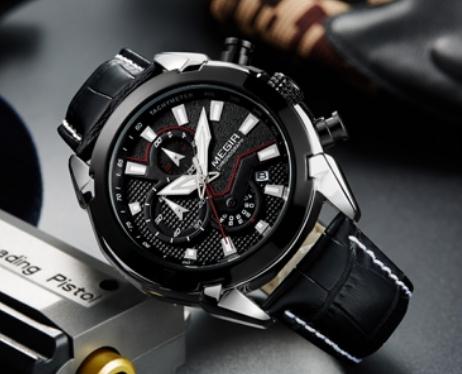 Ceas Megir 2045 - | Fashion | Sport | Cronograf | Negru | Curea piele | 4