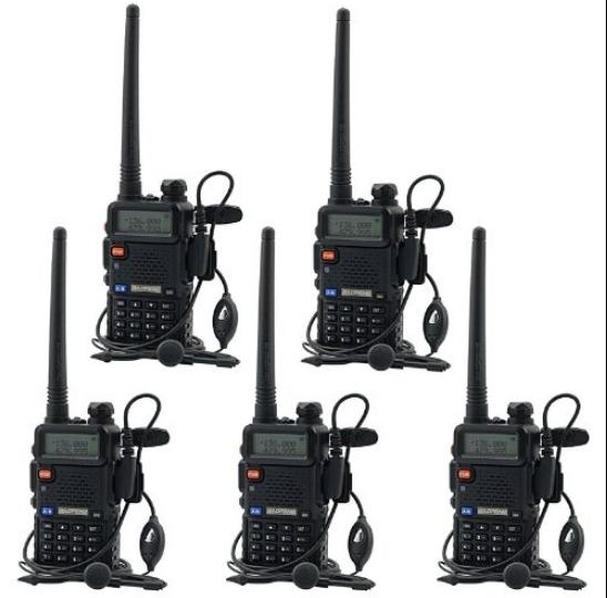 Set 5 statii radio Baofeng UV-5R Dual Band Tranciever + Bonus Casti cu microfon incluse 0