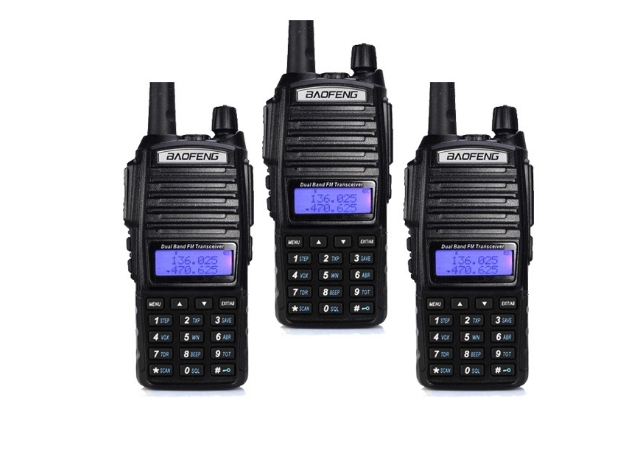 Set 3 statii UV- 82 walkie talkie transiever, 5 W,  dual band VHF, UHF, 2800 mAH , radio FM 0