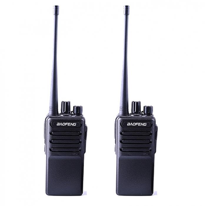 Set 2 buc Statii Radio Walkie Talkie Baofeng BF- V2 UHF 400-470MHz 16CH PROGRAMABILE, incarcare USB 5V + Cablu si CD programare