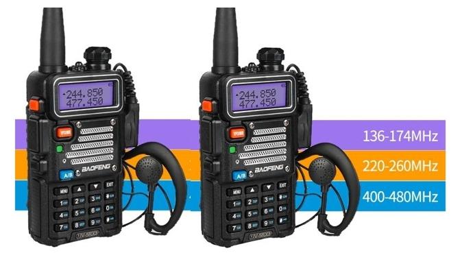 Set 2 statii radio Baofeng UV-5R 3 Frecvente Dual Band Tranciever + Bonus Casti cu microfon incluse 0