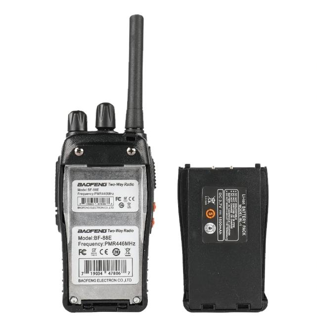 Set 2 statii radio BF-88E , 16 canale PMR 446 ,  antena fixa,  0.5 W