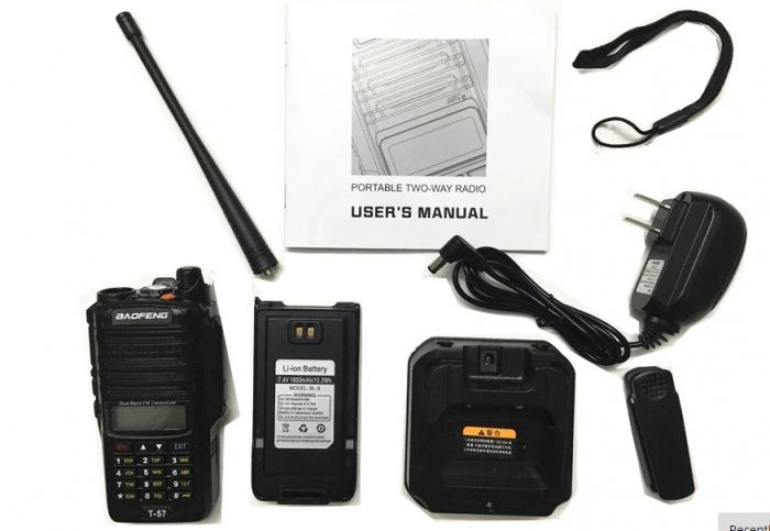 Statie Radio Walkie Talkie Baofeng T-57, ptr conditii extreme dual band 136-174 Mhz, 400-520 Mhz, 5W 2